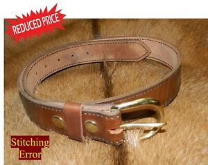 """REDUCED  - Stitched Edge GUN or WORK Belt 11 oz Leather Size 37, 1-1/2"""" wide"""