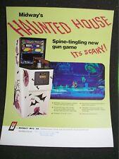 Midway 1972 HAUNTED HOUSE Original Vintage Rifle Gun Arcade Game Flyer Halloween