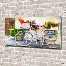 Glas-Bild Wandbilder Druck auf Glas 140x70 Deko Fahrzeuge Weißes Fahrrad