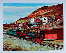 Vintage VIRGINIA CITY Nevada ART PRINT Virginia Truckee TRAIN Railroad POSTER