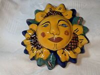 "Vintage Signed Talavera 5"" Sun Face Handmade Folk Art Sunflower Pottery Mexico"