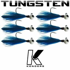 (6 pack) Tungsten Feather Panfish Jig - BLUE - 1/16 oz - #2 Hook