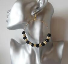 Gorgeous large Black bead & diamante gold tone big hoop drop earrings *NEW*   MD