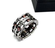 Men's Designer Silver Eternity Rope Ring With Orange Garnets By Sacred Angels