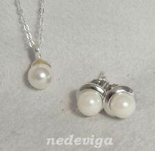 925 Sterling Silber Damen Schmuckset Kette Anhänger Ohrringe Perle creme + Etui
