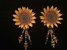 Vintage Lunch at the Ritz Sunflower Clip On Earrings