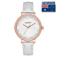 Fashion White Leather Steel White Dial Quartz Watch Women Lady Wrist Watch
