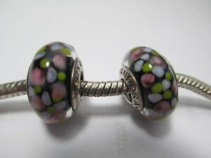 2 Genuine Pandora Silver 925 Ale Charm Multi Colored Art Dot Black Glass Beads