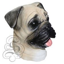 Látex Full jefe realista Mascota Pug Perro Fancy Dress Up Carnaval Máscara