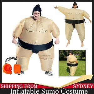 Inflatable Sumo Wrestler Suits Adult Costume Fancy Dress Blow Up Unisex Hat AU