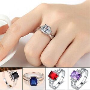 Women's Fashion Silver Rectangle Crystal Zircon Cz Ring Wedding Jewelry Size6-11