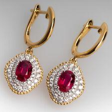 3 Ct Oval Ruby & Sim Diamond Women's Leverback Dangle Earring 14k Yellow Gold FN
