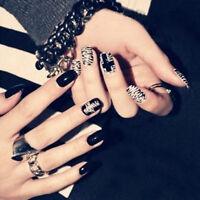 24Pcs Black&White French False Nails Nail Art Design Nail Tips With Glue