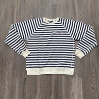 Polo Ralph Lauren Sweater Mens M White Blue Striped Long Sleeve Pullover