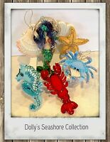 SALE 6 Seashore felt ornaments seahorse mermaid shell starfish lobster crab