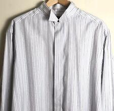 Eton Men's 17 43 Formal Wing Collar White Gray Stripe French Flip Cuff Shirt