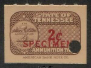 TENNESSEE Ammunition Revenue TN AM38S red SPECIMEN ovpt., security punch, VF