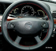 FOR MERCEDES E CLASS W212 09-15 BLACK LEATHER STEERING WHEEL COVER RED STITCH