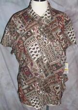 New Charter Club Top Shirt 16W Brown Mixed Print Patchwork