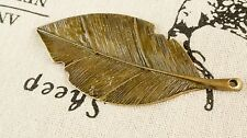 leaf bronze charm vintage style jewellery supplies C202