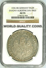 Germany 1596 HB Thaler Saxony 3 Brothers Christian Johann Georg August NGC AU55