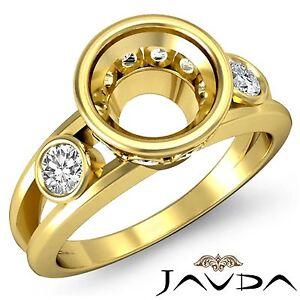 Brilliant Round Diamond Engagement 3 Stone 0.5Ct Ring Semi Mount 14k Yellow Gold