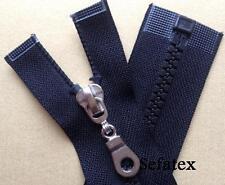 Jacken Reißverschluss, Plastikzahn,schwarz, 6mm mit glanzsilber Schieber,  65cm