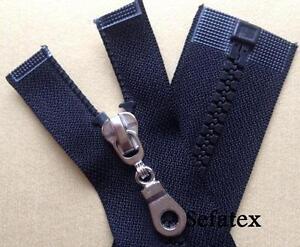 Jacken Reißverschluss,Teilbar Plastikzahn,schwarz, 6mm glanzsilber Schieber,65cm