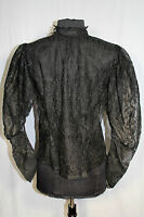 RARE EXCEPTIONAL FRENCH EDWARDIAN BLACK COTTON LACE TIGHT NECK BLOUSE SIZE 36-38