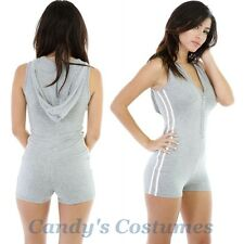 GREY Hoodie ROMPER V-Neck BUTTON Playsuit HOT Shorts BODYSUIT Teddy ONE PIECE