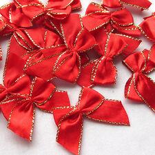 30PCS Gold Edge Satin Ribbon Bows Flowers Appliques Wedding 30MM