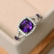 Cushion Amethyst 1.90 CT Gemstone Rings Solid 14kt White Gold Ring Size J K L N