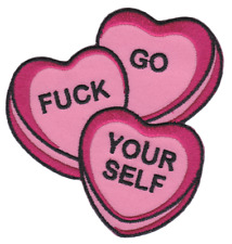 Sourpuss Candy Heart Patch Iron On Rockabilly Punk PinUp Lollies Go F Yourself