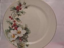 Gibson Yuletide Cream Dinner Plate (s) Christmas Holly White Flowers Red Berries