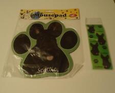Scottie Scottish Terrier Dog Breed Paw Print Shaped Mousepad + 3D Bookmark