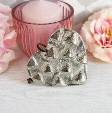 Silver EMBOSSED HEARTS Solid Metal HANGING HEART DECORATION