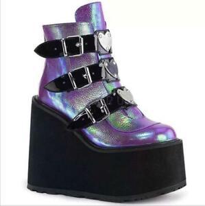 Women Ankle Punk Boots Platform Wedge Fashion Buckle Strap Goth Bootie Cosplay Z