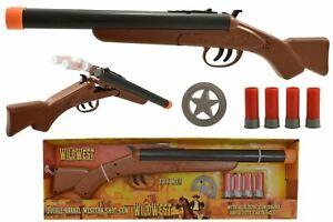 DOUBLE BARREL SHOTGUN WILD WEST WESTERN TOY KIDS FUN SHOOTING + BULLETS BLASTER