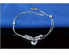 New Women Fashion 925 Silver Plated Heart Charm Chain Ankle Wrist Bracelet12-8