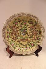 Beautiful Chinoiserie Floral Patterned Hand Painted Porcelain Plate Gold Gilt