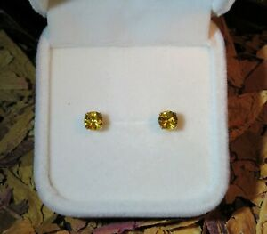 CERTIFIED! Top quality natural Yellow Sapphire 5mm yellow gold stud earrings 🌟