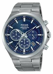 Pulsar Solar Herren-Uhr Chronograph Titan Metallband PZ5095X1 Armbanduhren