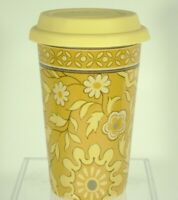 Longaberger Pottery Travel Mug Tumbler Coffee Yellow Gold Floral 10 oz w/ Lid
