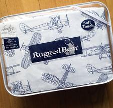 Kids AIRPLANE 4pc FULL SHEET SET Plane double NAVY BLUE Boy Rugged Bear COTTON