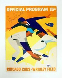GLEN BECKERT Chicago Cubs Autographed 1967 Game Program Score Card w PSA/DNA COA