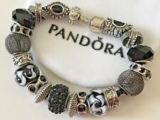 "EUROPEAN STYLE BLACK LEATHER CHARM BRACELET 7.5"" Long with Beads + VELVET POUCH"