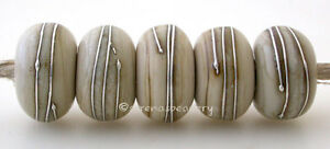 5 FOSSIL BROWN with Fine Silver Wire Wraps * Handmade Lampwork Glass Beads