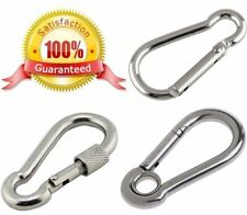large small CARABINER CLIP ~ HEAVY DUTY STEEL ~ Screw Lock or Eye CARABINA CLIPS