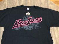 LeBron King James 23 Cleveland Cavaliers NBA Majestic Large Black T Shirt