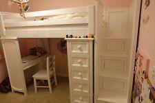 White wood space saver loft twin bed w/storage, shelves & desk (you ship or pick